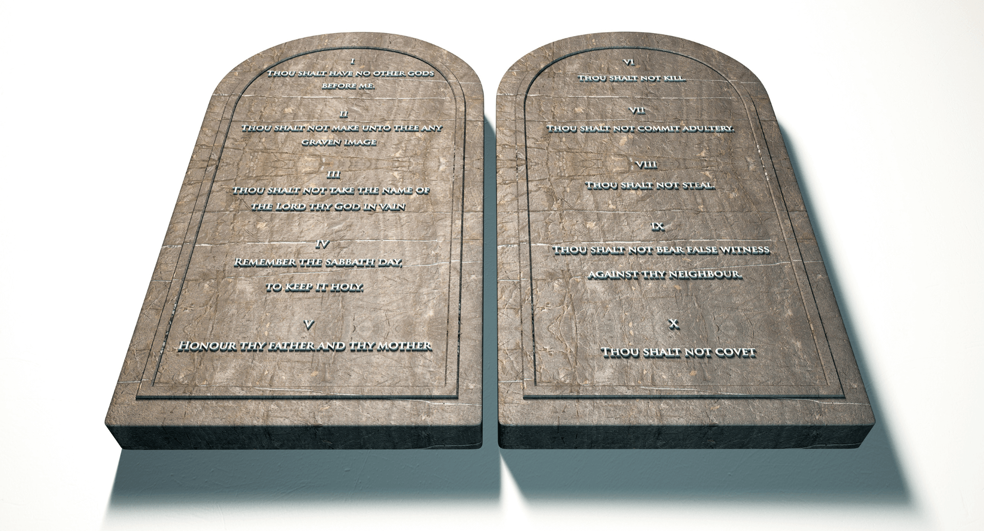 The 10 Commandments on 2 Tablets
